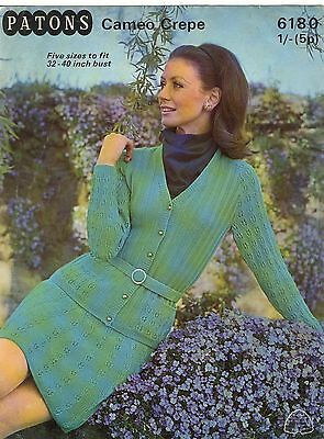 "Vintage Knitting Pattern Patons 6180 Lady's Cardigan Suit in 4 Ply 32-40"" 1960S"