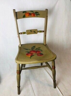 Antique Vintage Olive Green Wooden Chair Hand Painted Fruit Design  Charming