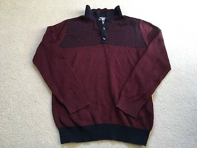 Boys 8-9 Years Smart Matalan Burgundy And Navy Jumper With Collar S/Nn
