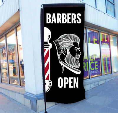 Barbers Pole Flag Barber Shop Sign Banner Printed Up To 2 Sq.m With Your Details
