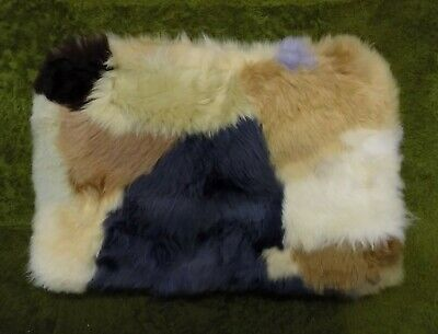 GENUINE PATCHWORK SHEEPSKIN RUG NURSERY, SEAT, PET BEDDING, MAT 51 x 33cm