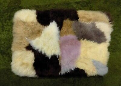 GENUINE PATCH WORK SHEEPSKIN RUG NURSERY, SEAT, PET BEDDING, MAT 51 x 33cm