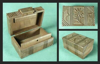 SWISS/ Black Forest - PUZZLE TRINKET BOX - CARVED WOODEN