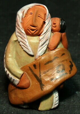 Keena Signed Mother & Child Red Clay Sculpture - Listed Native Indian Artist