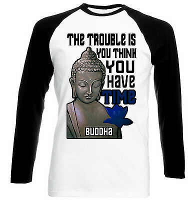 Buddha The Trouble Quote - New Cotton Black Sleeved Tshirt- All Sizes
