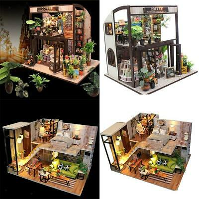 2 Pieces 1/24 DIY Miniature Dollhouse Kit Wooden Creative w/ Furniture,Light