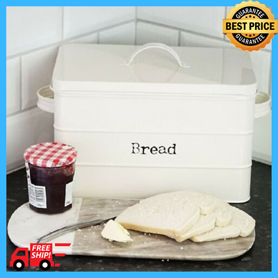 METAL Kitchen Bread BIN Cream Side Handles AIRTIGHT Seal Easily Removable Lid