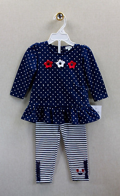 NEW Le Top Floral Navy Blue Dot Tunic & Striped Leggings Set 12 months
