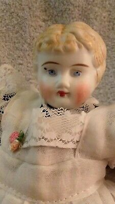 Antique 9-Inch Parian Doll in Pin-Dot Dress and White Pinafore