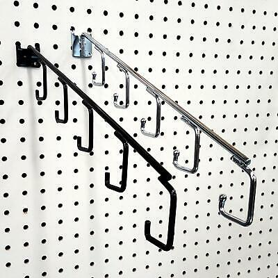 """16"""" L Pegboard 5 Hook Waterfall Faceout Hook, Black or Chrome"""
