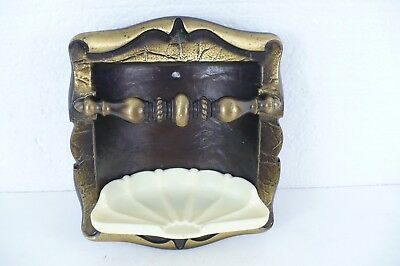 """Amerock Carriage rare House Soap Dish & Towel Holder in Antique Brass 6-3/4""""x 8"""""""