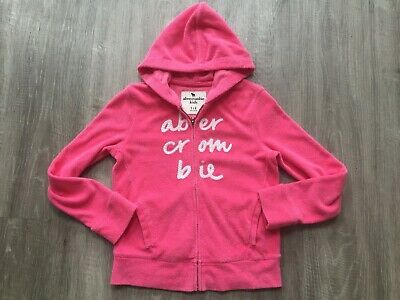 Girls Abercrombie And Fitch Towelling Cardigan Hoody Jumper Top Hoodie 7-8 Pink