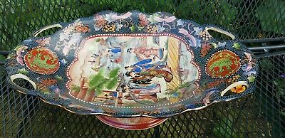 """Huge Stunning Japanese Chinese Porcelain Footed Bowl Handpainted Guilded 18.8"""""""