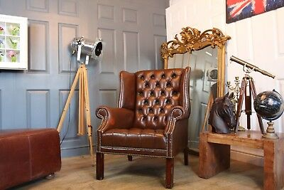 chesterfield wing armchair brown leather chair