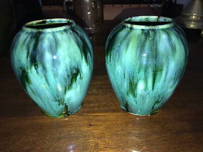 Pair Vintage Arts Crafts Pottery Green Onyx Vases.  Beautiful Pair!