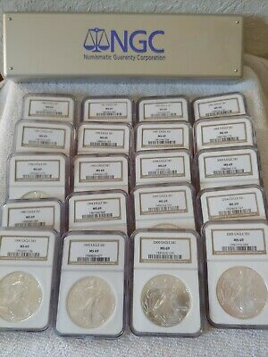 1986-2005 American $1 Silver Eagle Set – 20 Coins in NGC Box – All NGC MS69