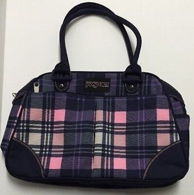 "JanSport Small 16"" Hand Bag Duffel Carry On Travel Pink Pansy Preston Plaid NWOT"
