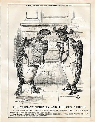 1897 Punch Cartoon Tammany Terrapin and New York City Turtle in it Together