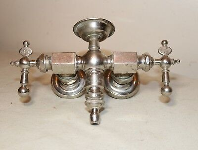 antique 1800s polished nickel plated silver brass wall mount faucet fixture tray
