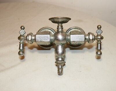 antique 1800's industrial nickel plated silver brass wall mount faucet fixture