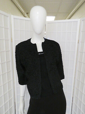 Vintage 1930 Black Silk Hand Ribbon Lined Cocktail Jacket w/ Scalloped Edges.
