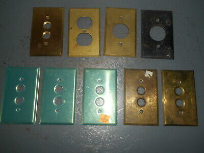 Vintage Lot/9 Brass Push Button & Misc Light Cover Plates- 3 New Old Stock