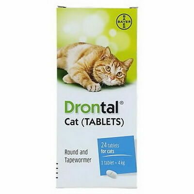 Bayer Drontal Plus for Cat Dewormer Allworms Round and Tap Worm Health 4/40 Tabs