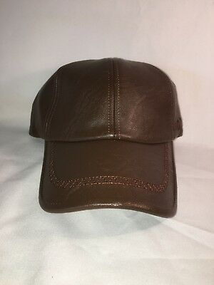 Fashion Style 100% Polyurethane Leather Cap Buckle Strap Adjustment Brown Color