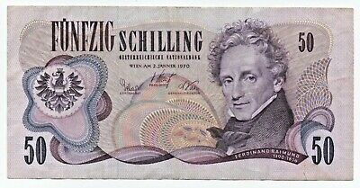 AUSTRIA 50 Schilling 1970 VF Condition, nice collector's item!