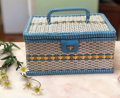 Awesome Vintage Retro Cane Case Wicker Sewing Box Craft Blue White Yellow