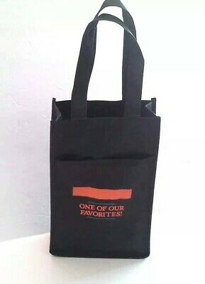 Cloth Wine Tote Bag Black Carrier Outside Pocket Handles Double Compartment