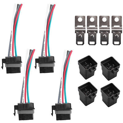 4 Set 12V 40 amp 5 Pin 5 Wire Car Auto Relay Plug Socket Waterproof Heavy Duty