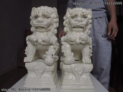 15 China DeHua White porcelain Feng Shui Evil Bei Jing Door Fu Foo Dog Lion Pair