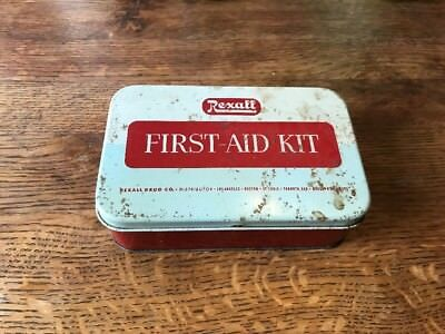 Vtg Rexall Pharmacy First Aid Kit Tin Box 500 Manual Red Cross Gauze Cotton More