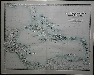 1887 Large Victorian Map ~ West India Islands Central America Cuba Jamaica Haiti