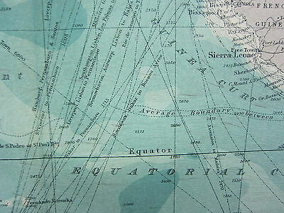 1921 Large Map ~ South Atlantic Ocean Steamer Routes South America Africa