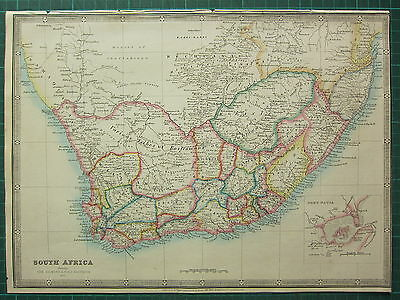 1872 James Wyld Map ~ South Africa Beaufort Port Natal Plan ~ Hand Coloured