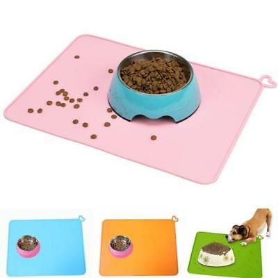 Cat Bowl Pads Dog Pet Feeding Water Food Dish Tray Wipe Silicone Mat Placemat MA