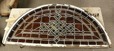 """HUGE 1800's Salvaged Transom Leaded Stained Glass Window 70"""" X 34.5"""" RESTORATION"""