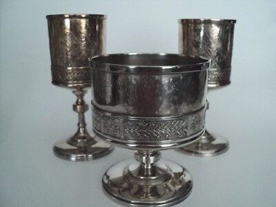 Victorian Silver Plate Reed & Barton Aesthetic 2 goblets and matching waste bowl