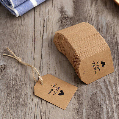 Blank Craft Paper Hang Tags Wedding Party Favor Label Price Gift Cards Set MA