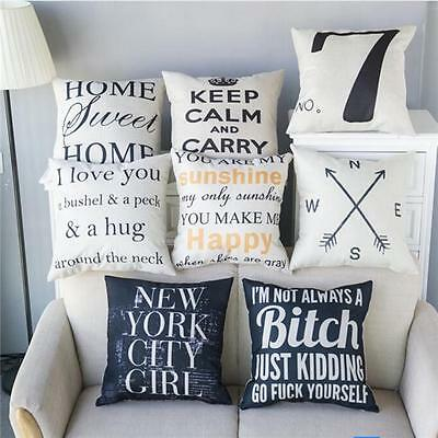 Letter Pattern Cotton Linen Pillow Cases Home Fashion Sofa Cushion Covers MA