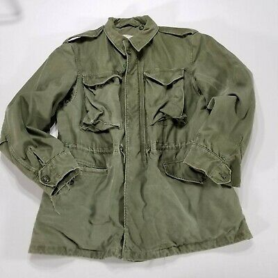 VTG Wind Resistant Cotton Field Coat Sateen US Army OG-107 SMALL REG 60s M-1951