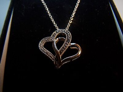 a4e05a6a8 Kay Jewelers Black & White Diamond Double Heart Sterling Silver Pendant And  Chai