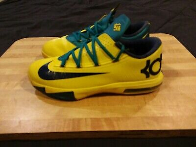 133dba5ac54 NIKE KD VI 6 Sonic Yellow-Midnight Navy Blue-Tropical Teal Sz 17 ...