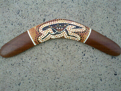 KOORI indigenous hand painted dot art boomerang with COA