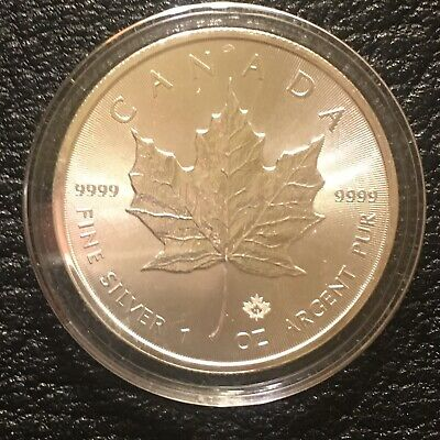 2018 $5 1oz Canadian Silver Maple Leaf Coins .9999 Fine In Capsule