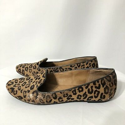 fe140f2a6cb7 Womens Clarks Indigo Leopard Print Calf Hair Slip On Leather Loafers Size  81 2