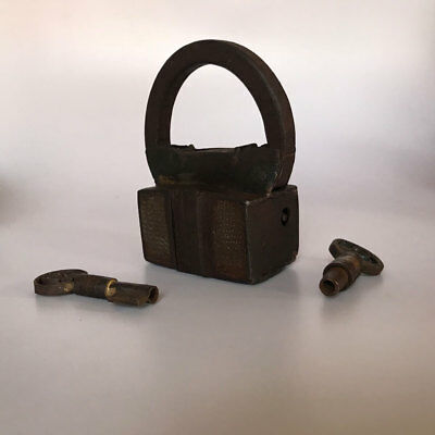 An old antique Iron padlock lock with 2 key MOST RARE COLLECTIBLE