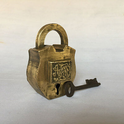 001 Old or vintage solid brass padlock lock trick puzzle with key collectible